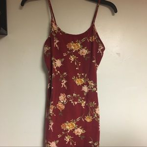 Spaghetti strap bodycon floral mini dress